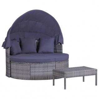 vidaXL 3-tlg. Garten-Lounge-Set mit Polstern & Kissen Poly Rattan Grau