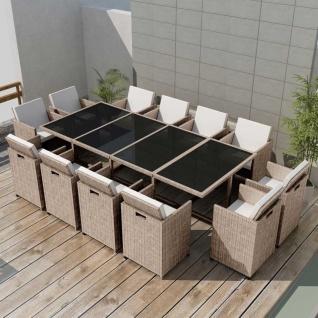 vidaXL 13-tlg. Garten-Essgruppe mit Auflagen Poly Rattan Beige