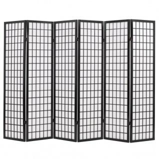 vidaXL 6tlg. Raumteiler Japanischer Stil Klappbar 240 x 170 cm Schwarz