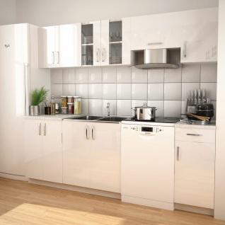vidaXL 7-tlg. Küchenzeile Set mit Dunstabzugshaube Hochglanz Weiß