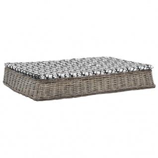 vidaXL Hundebett mit Kissen Grau 110x75x15 cm Naturweide Flach Design