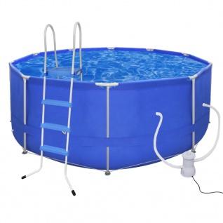 Schwimmbad Rund Pool 367 x 122 cm + Leiter + Pumpe