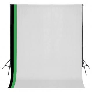 vidaXL Fotostudio Set 3 Baumwolle-Hintergründe Rahmen verstellbar 3x3m