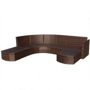vidaXL 4-tlg. Garten-Lounge-Set mit Auflagen Poly Rattan Braun - Vorschau 5