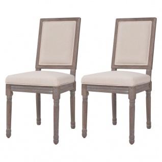 vidaXL Esszimmerstühle 2 Stk. Leinen 47 x 58 x 98 cm Cremeweiß