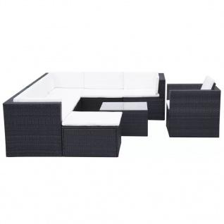 vidaXL 9-tlg. Garten-Lounge-Set mit Auflagen Poly Rattan Schwarz - Vorschau 3