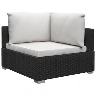 vidaXL 13-tlg. Garten-Lounge-Set mit Auflagen Poly Rattan Schwarz - Vorschau 5