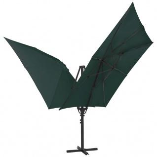 vidaXL Doppelsonnenschirm mit 2 Schirmdächern 300 x 300 cm Grün