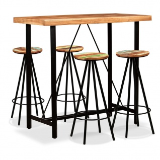 vidaXL Bar-Set 5-tlg. Sheesham-Holz Massiv und Altholz