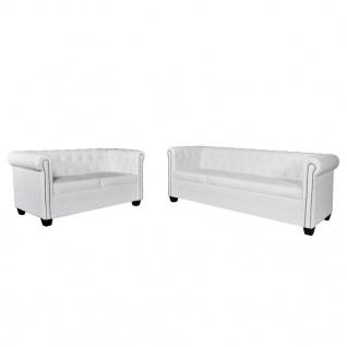 vidaXL Chesterfield Sofa 2-Sitzer und 3-Sitzer Kunstleder Weiß