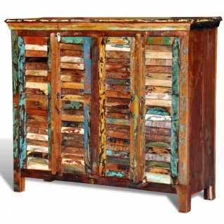 Antik Vintage Massivholz Kommode Sideboard Schrank 4 Türen