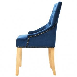 vidaXL Esszimmerstühle 2 Stk. Massive Eiche und Samt Blau - Vorschau 5