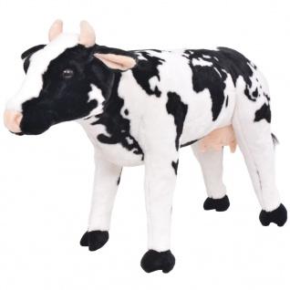 vidaXL Plüschtier Stehend Kuh Schwarz und Weiß XXL
