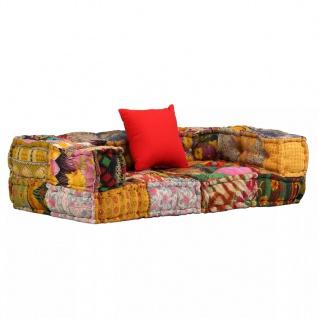 vidaXL 2-Sitzer Modulares Sofa mit Armlehnen Stoff Patchwork