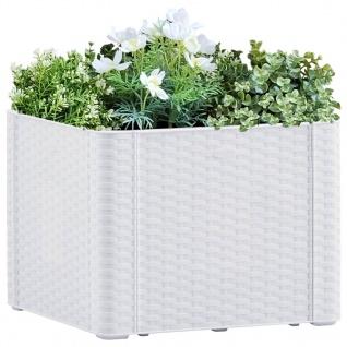 vidaXL Garten-Hochbeet mit Selbstbewässerungssystem Weiß 43x43x33 cm