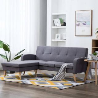 vidaXL Sofa in L-Form Stoffbezug 186 x 136 x 79 cm Hellgrau