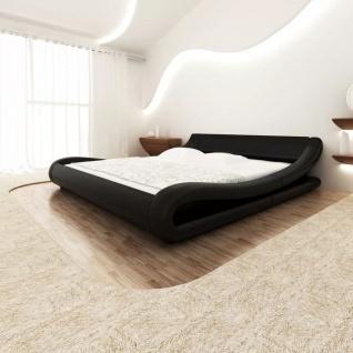 vidaXL Bett + Memory Matratze Kunstleder 180x200 cm Curl schwarz