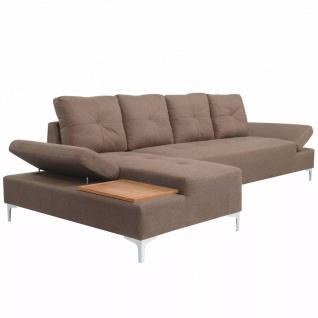 vidaXL Sofa in L-Form mit Ablagefläche aus Holz Stoff Braun XXL 300 cm - Vorschau 3