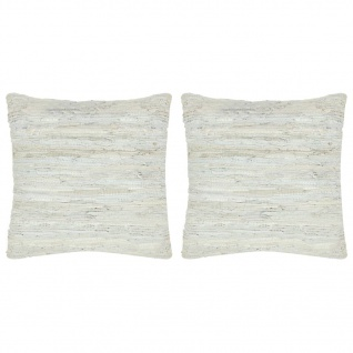 vidaXL Kissen 2 Stk. Chindi Hellgrau 45 x 45 cm Leder und Baumwolle