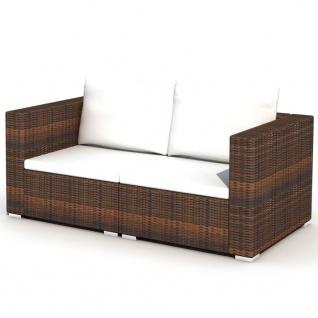 vidaXL 10-tlg. Garten-Lounge-Set mit Auflagen Poly Rattan Braun - Vorschau 5