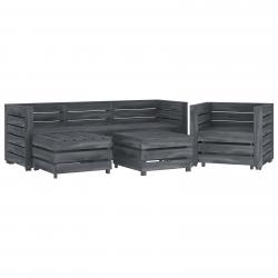 vidaXL 6-tlg. Garten-Lounge-Set aus Paletten Holz Grau