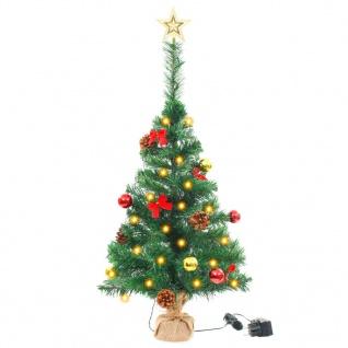 vidaXL Künstlicher Weihnachtsbaum Geschmückt Kugeln LEDs 64 cm Grün