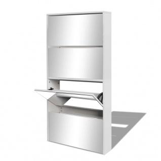 vidaXL Schuhschrank mit 4 Fächern Spiegel Weiß 63×17×134 cm - Vorschau 3