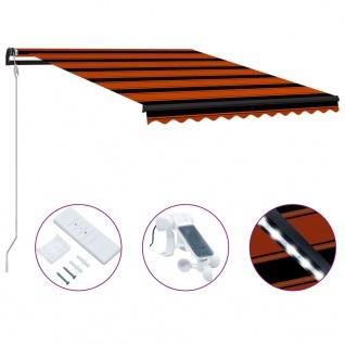 vidaXL Einziehbare Markise mit Windsensor & LED 300x250cm Orange Braun