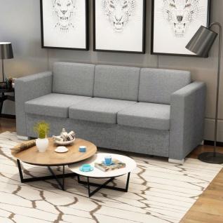 vidaXL 3-Sitzer Sofa Stoff Hellgrau - Vorschau 1