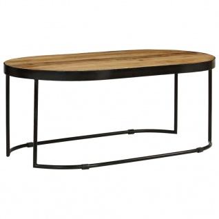 vidaXL Couchtisch Oval Raues Mango-Massivholz und Stahl 100 cm