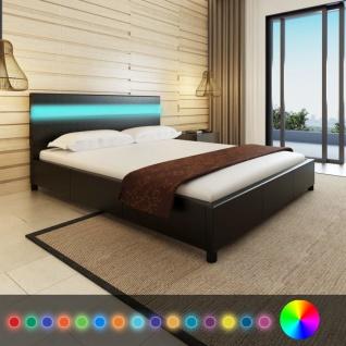 Bett mit Kopfende mit LED-Licht 200 x 160 cm Kunstleder-Bezug Schwarz