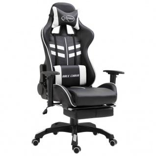 vidaXL Gaming-Stuhl mit Fußstütze Weiß PU