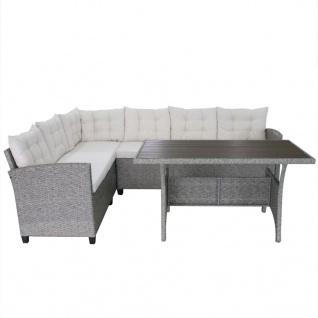 vidaXL 3-tlg. Garten-Lounge-Set mit Auflagen Poly Rattan Grau - Vorschau 3