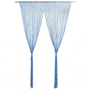 vidaXL Makramee Vorhang Blau 140x240 cm Baumwolle