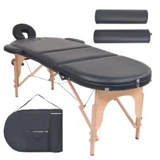 vidaXL Massageliege Tragbar mit 2 Lagerungskissen 10 cm Polsterung Schwarz