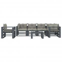 vidaXL 7-tlg. Garten-Lounge-Set Paletten mit Taupe-Kissen Holz