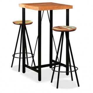 vidaXL Bar-Set 3-tlg. Massives Sheesham-Holz und Altholz