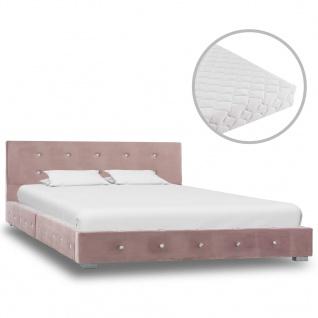 vidaXL Bett mit Matratze Rosa Samt 120 x 200 cm