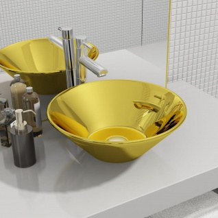 vidaXL Waschbecken 42 x 14 cm Keramik Golden