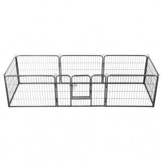 vidaXL Hunde-Laufgitter 8 Paneele Stahl 60 x 80 cm Schwarz