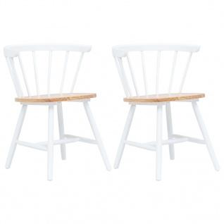 vidaXL Esszimmerstühle 2 Stk. Weiß und Braun Gummiholz Massiv
