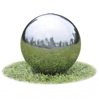vidaXL Garten-Springbrunnen Sphere mit LEDs Edelstahl 40 cm