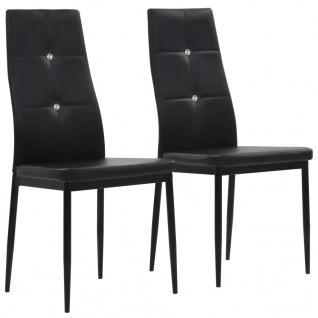 vidaXL Esszimmerstühle 2 Stk. Schwarz Kunstleder