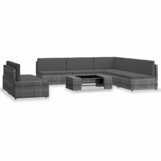 vidaXL 7-tlg. Garten-Lounge-Set Poly Rattan Grau