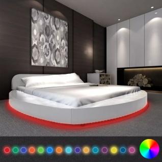 vidaXL Bett mit Matratze LED 180x200 cm Rund Kunstleder Weiß