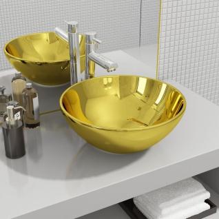 vidaXL Waschbecken 32, 5 x 14 cm Keramik Golden