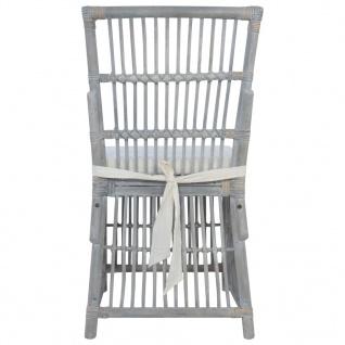 vidaXL Esszimmerstühle mit Kissen 4 Stk. Grau Natur Rattan - Vorschau 4