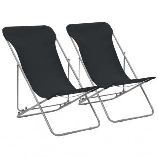 vidaXL Klappbare Strandstühle 2 Stk. Stahl und Oxford-Gewebe Schwarz