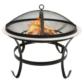 vidaXL 2in1 Feuerschale und Grill mit Schürhaken 56x56x49 cm Edelstahl