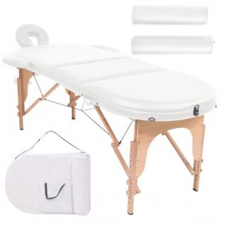 vidaXL Massageliege Tragbar mit 2 Lagerungskissen 10 cm Polsterung Weiß